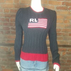 Ralph Lauren Polo Jeans Co. Youth Sweater Flag Cha